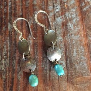 Sterling Silver bronze & turquoise earrings